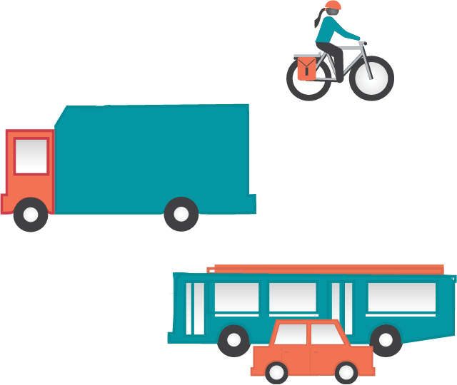 Graphic of bicyclist, truck, bus, and car.