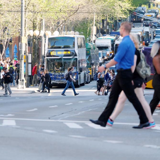 Pedestrians crossing the street